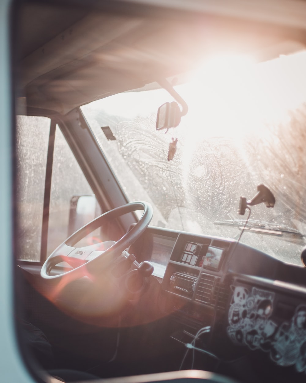 car window with white snow