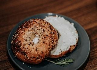 brown bread on blue ceramic plate