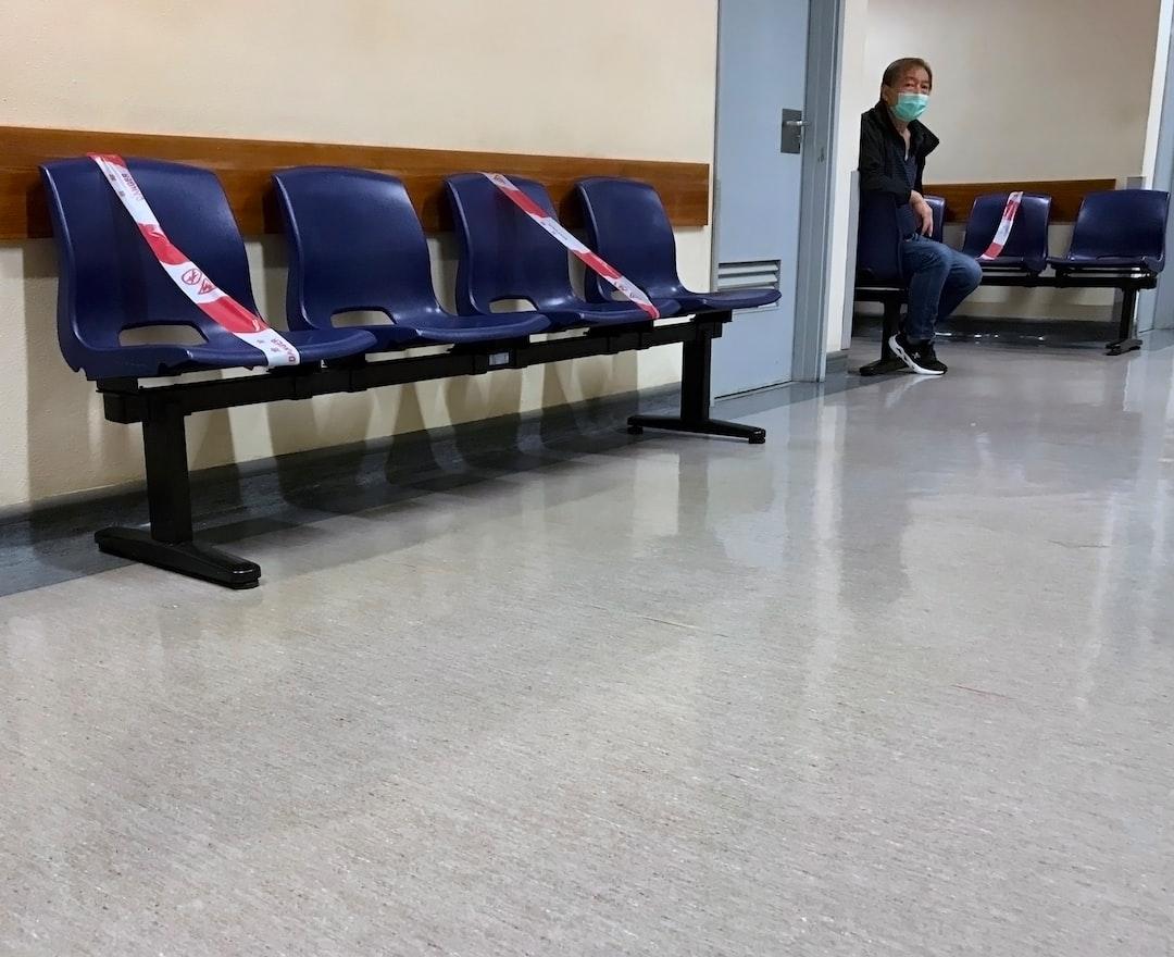 Social Distancing  Blocked chairs in Macau Hospital waiting room.