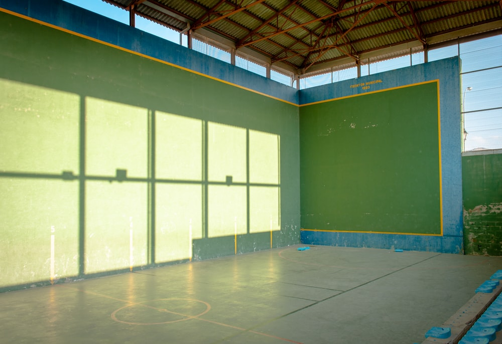 blue and white basketball court