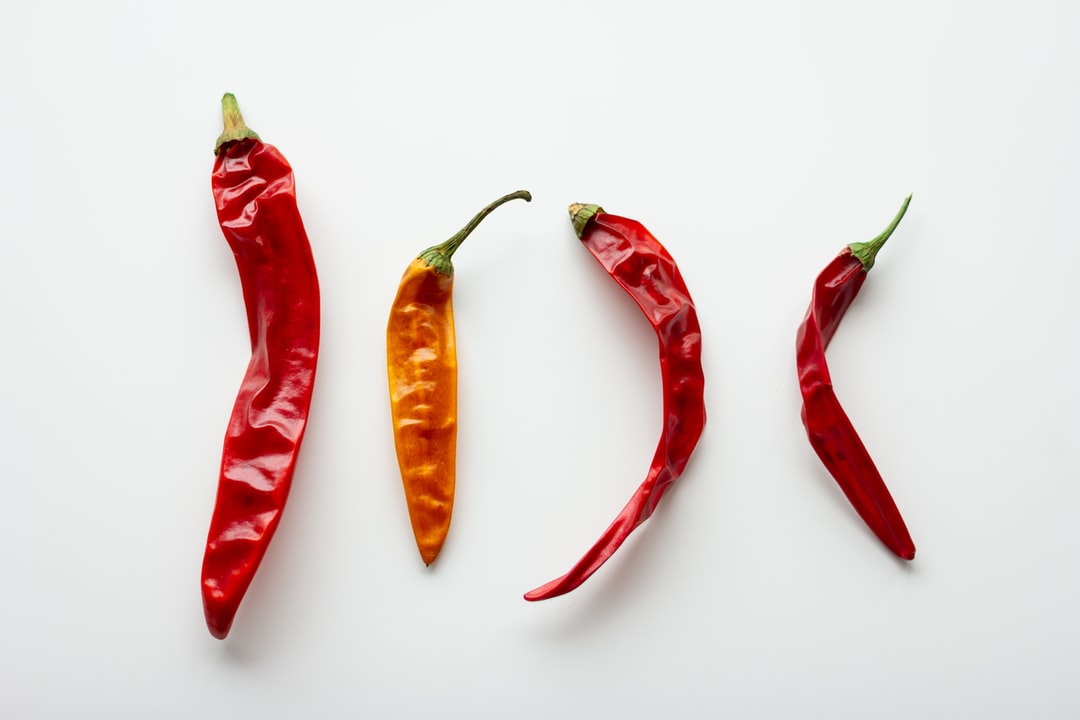 Hot chili peppers on a white background
