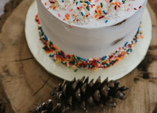 chocolate cake with white icing and sprinkles on white ceramic plate