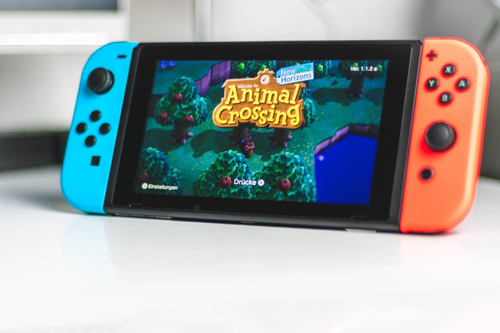 blue nintendo switch game console