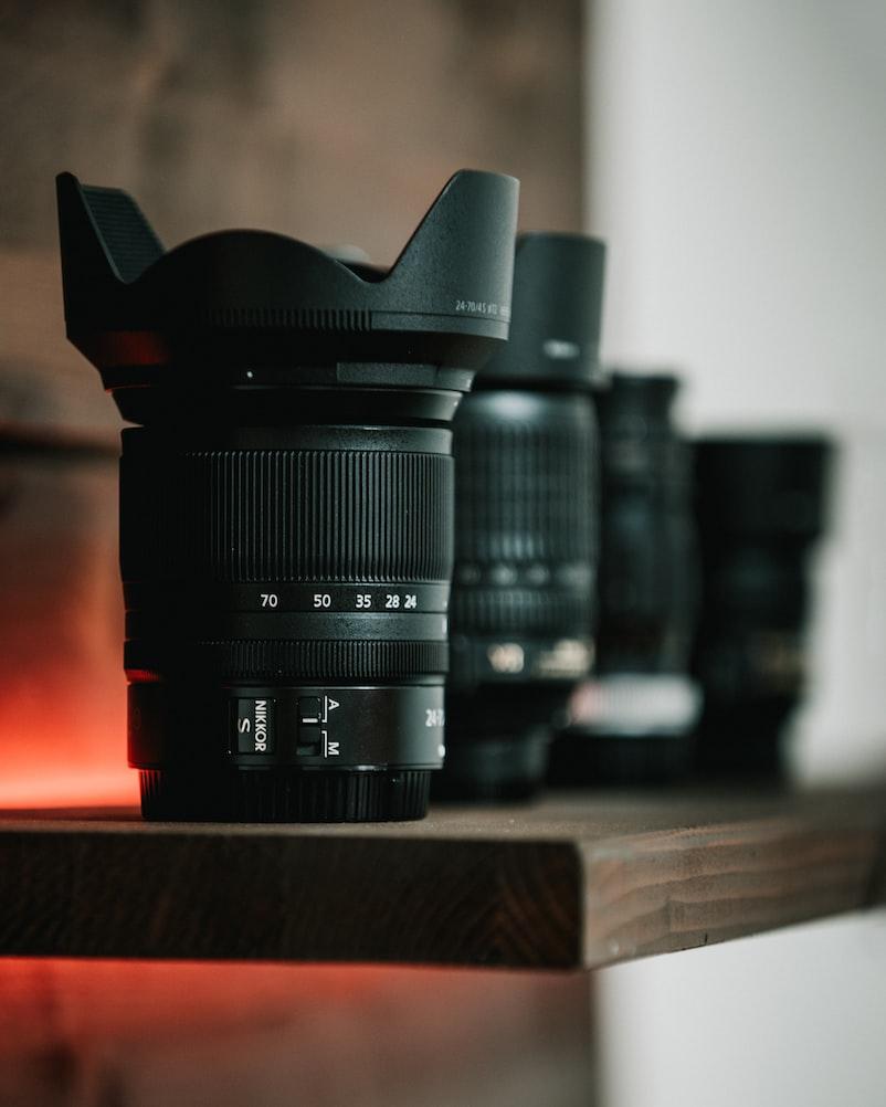Variety of camera lenses