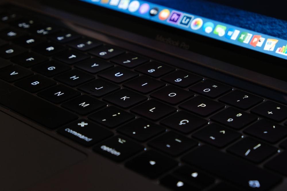 black and gray lenovo laptop