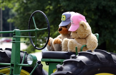 brown teddy bear on green and black tractor bears teams background