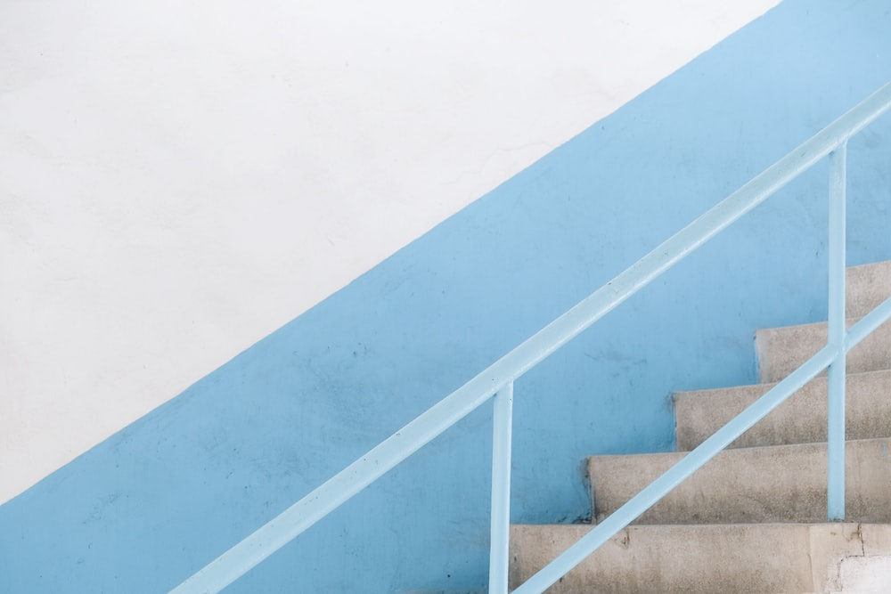 blue and white concrete staircase