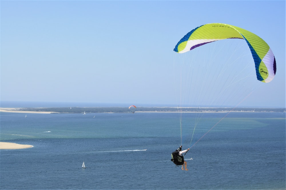 man in black shirt riding yellow and green parachute over blue sky during daytime
