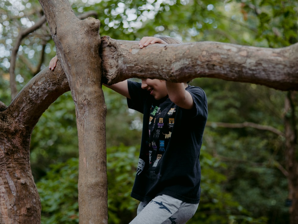 man in black t-shirt and gray pants sitting on brown tree branch during daytime