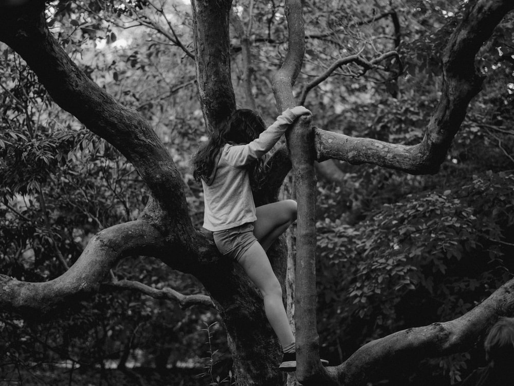 grayscale photo of woman in white t-shirt and shorts sitting on tree branch