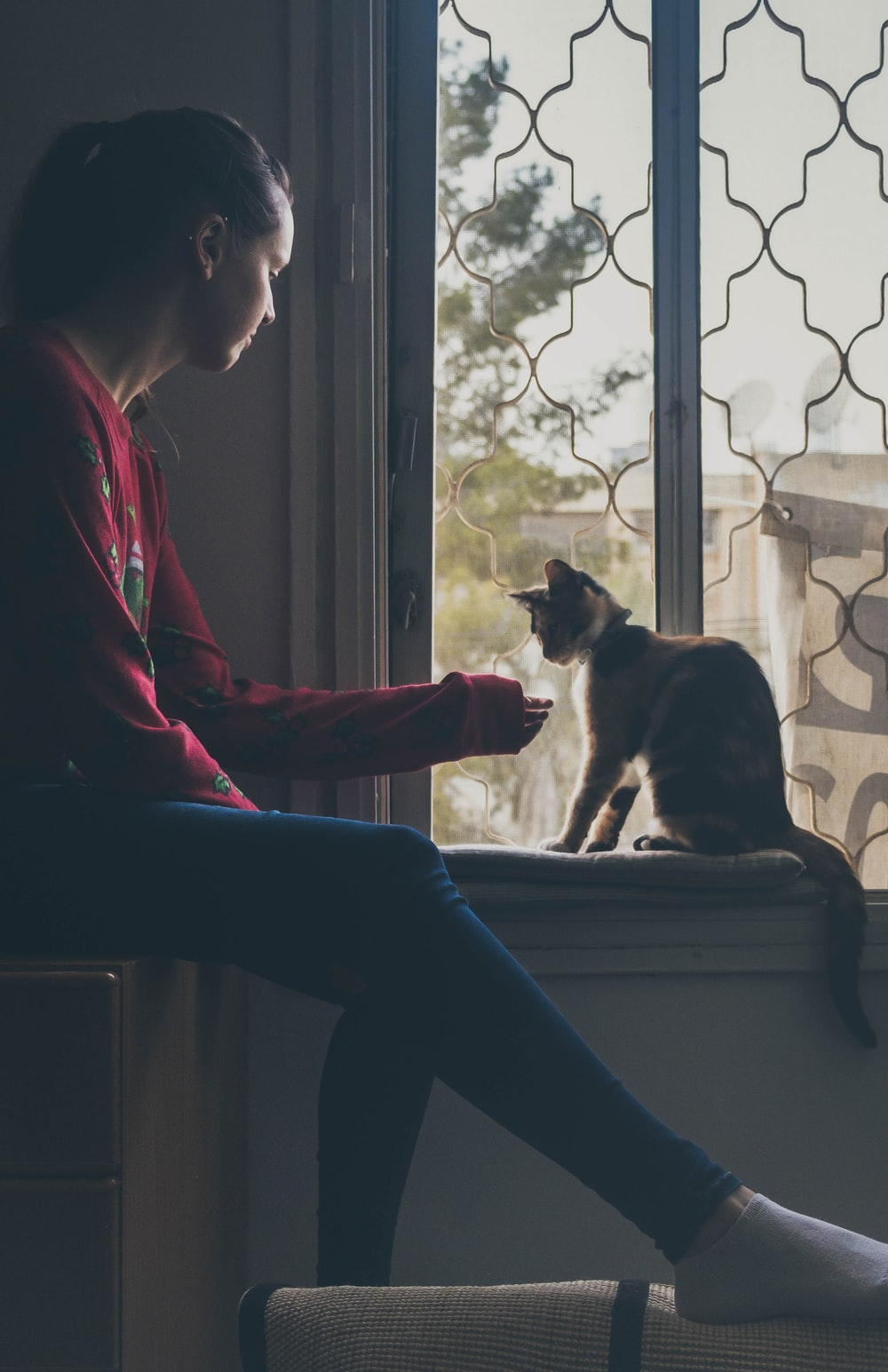 woman in red long sleeve shirt and blue denim jeans sitting on window