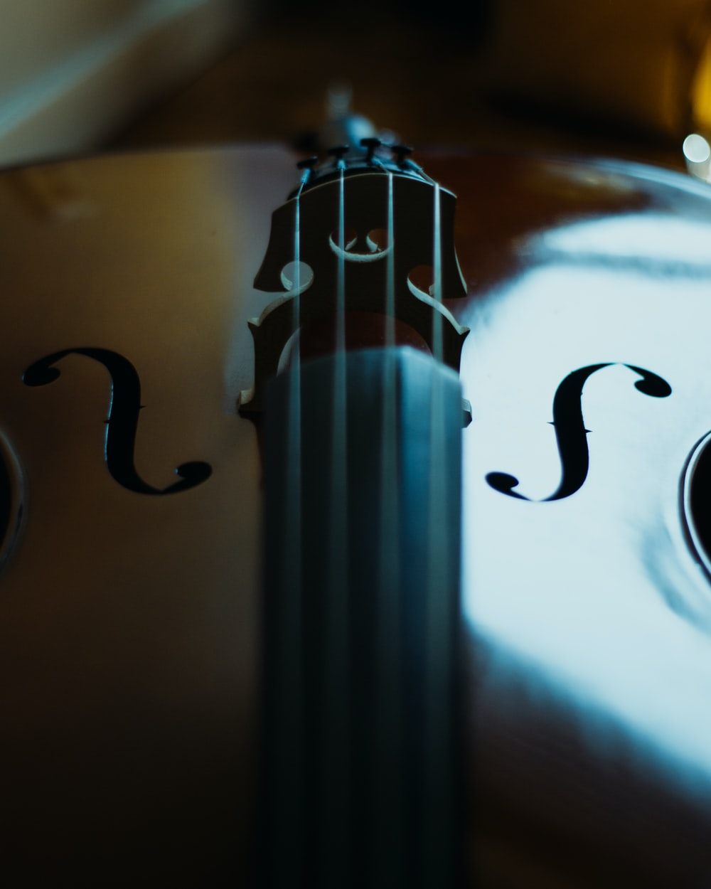 brown violin on white table