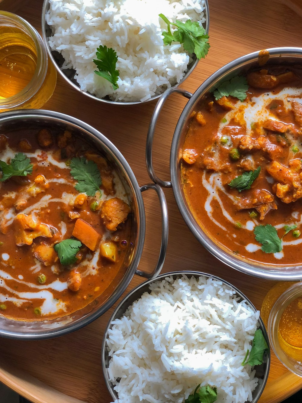 bowls of curry and rice