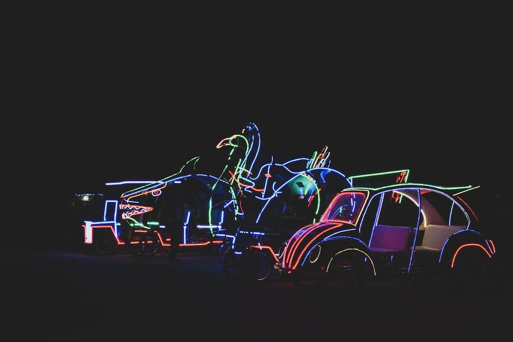 blue and purple neon lights