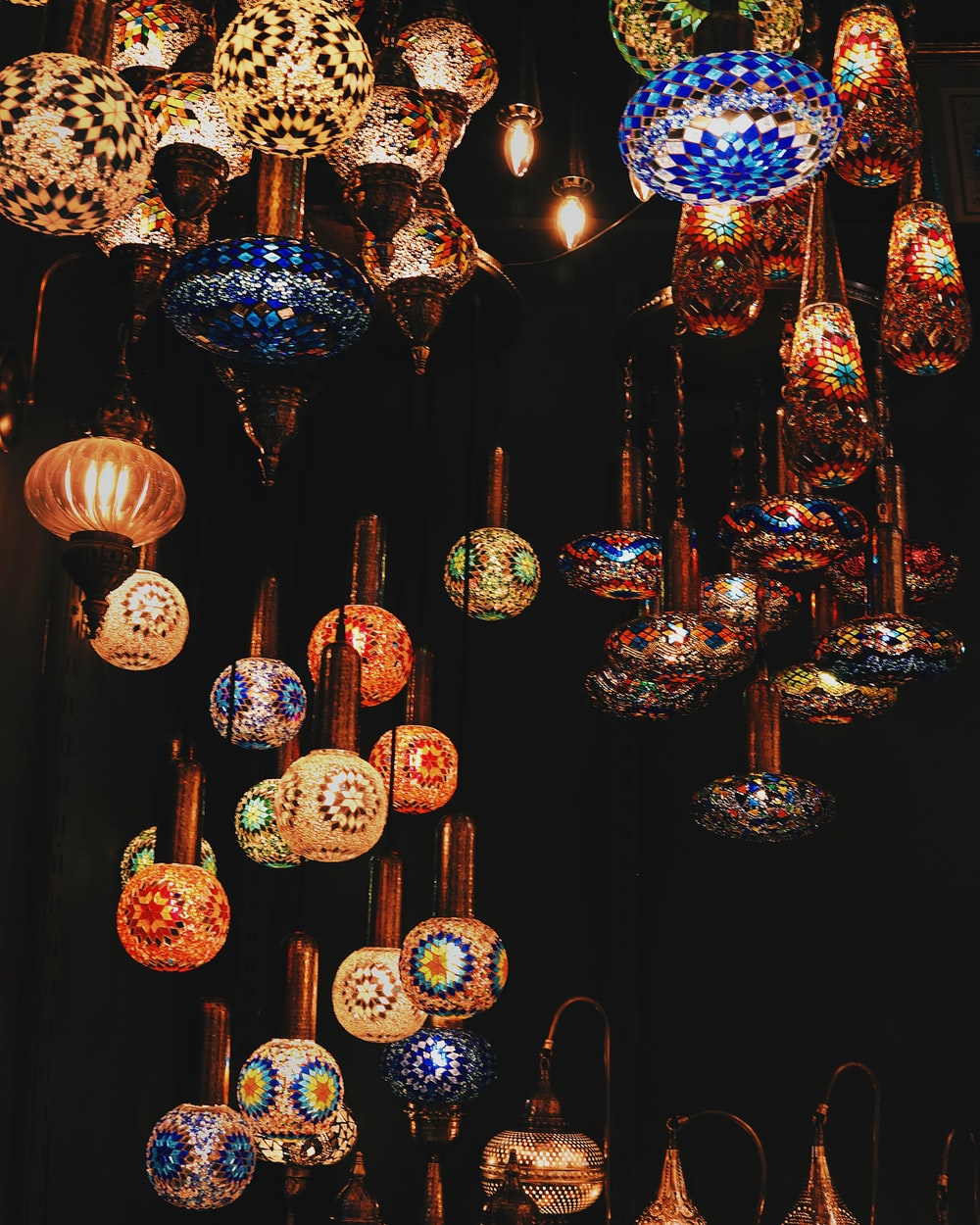 blue and red pendant lamps