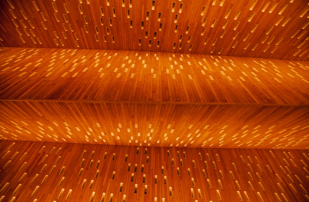 brown wooden ceiling with light