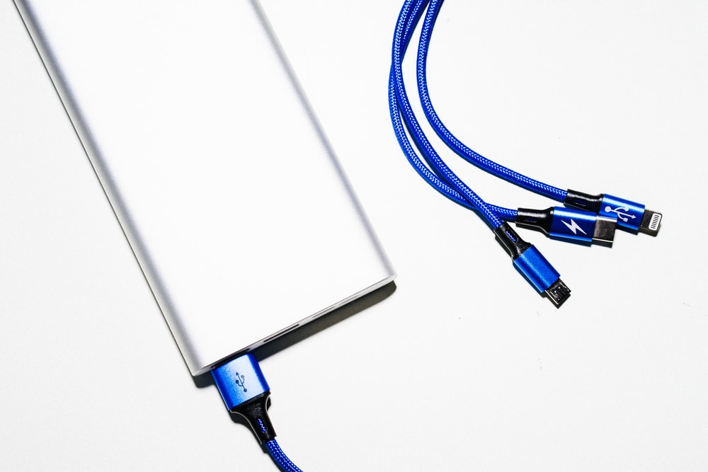 white and blue coated wires