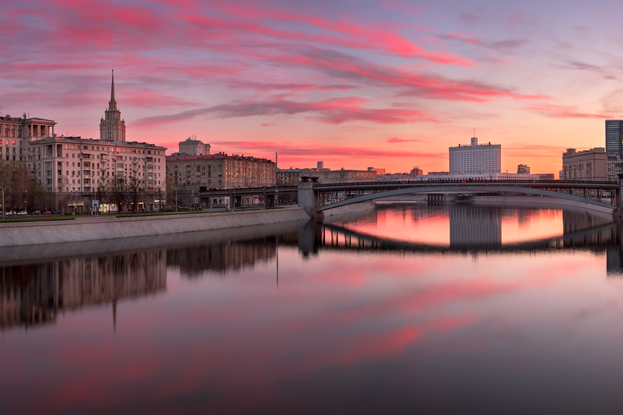 Panorama of Moskva River and White House in the Morning, Moscow, Russia