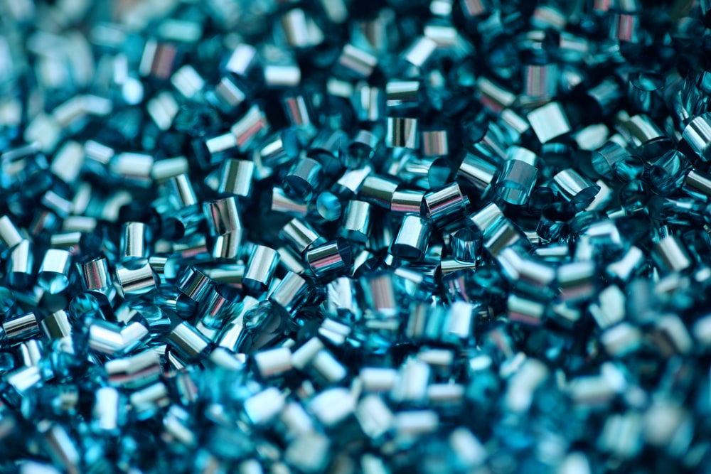 blue and white square beads