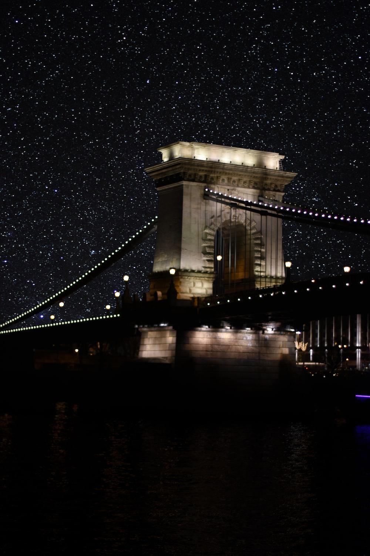 brown concrete bridge during night time