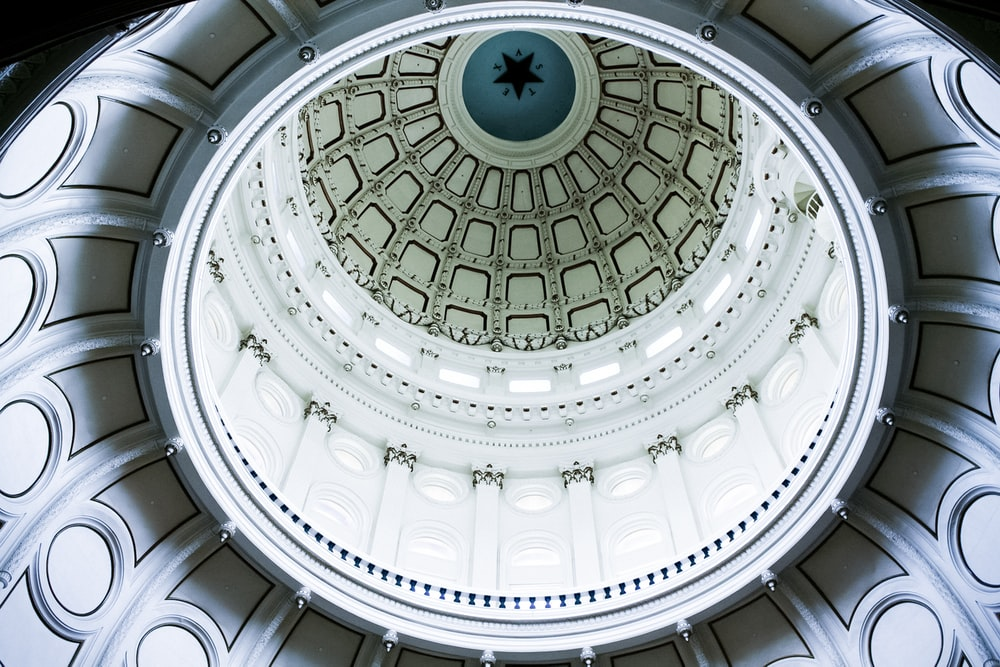 white and blue dome ceiling
