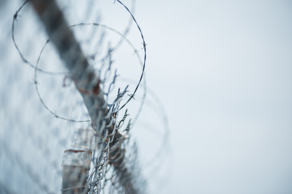 black wire fence with water droplets