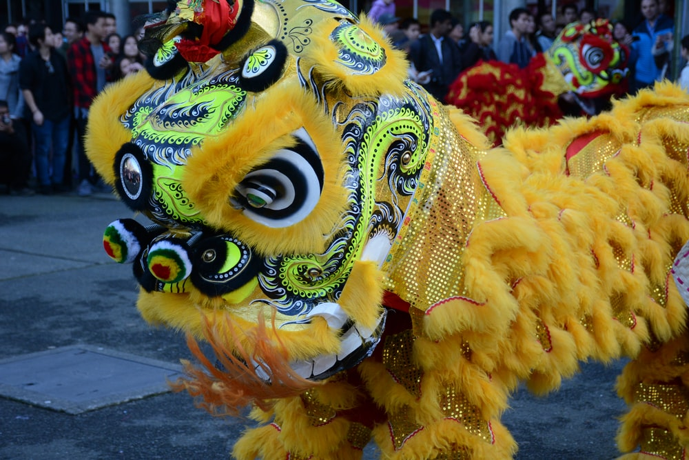 yellow and blue dragon costume