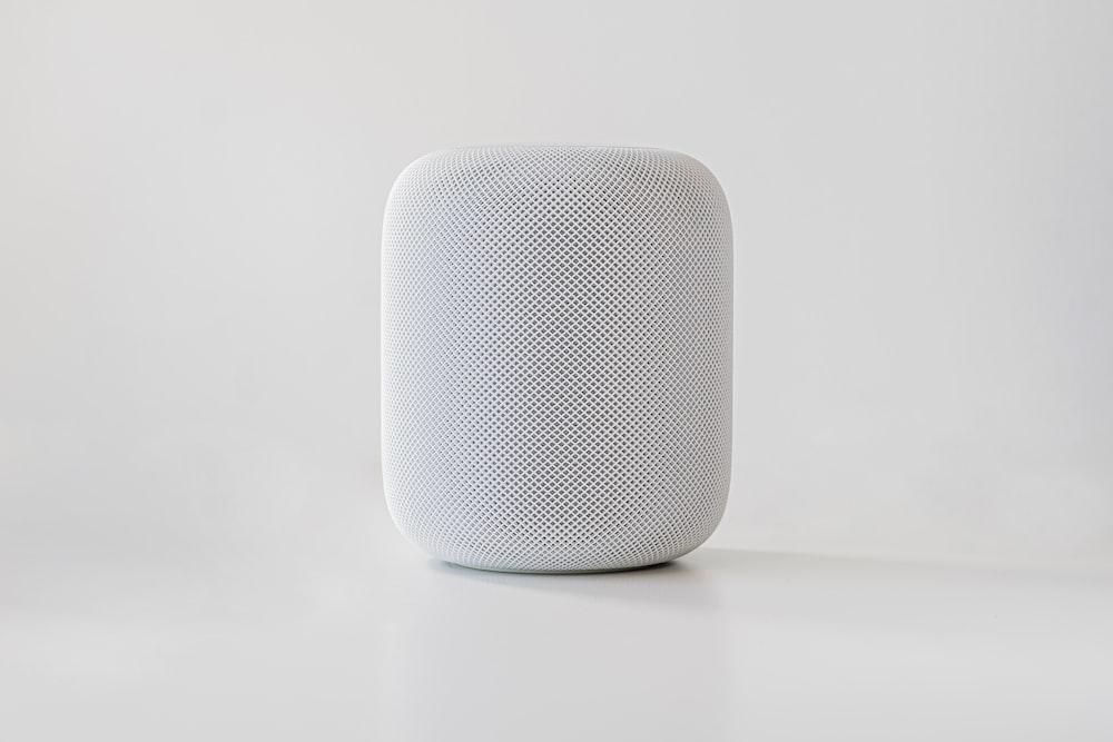 white and black round speaker