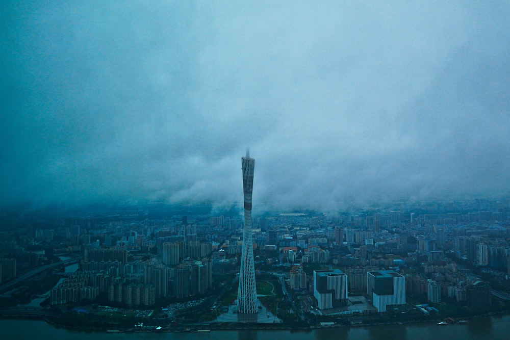 aerial view of city buildings under cloudy sky during daytime