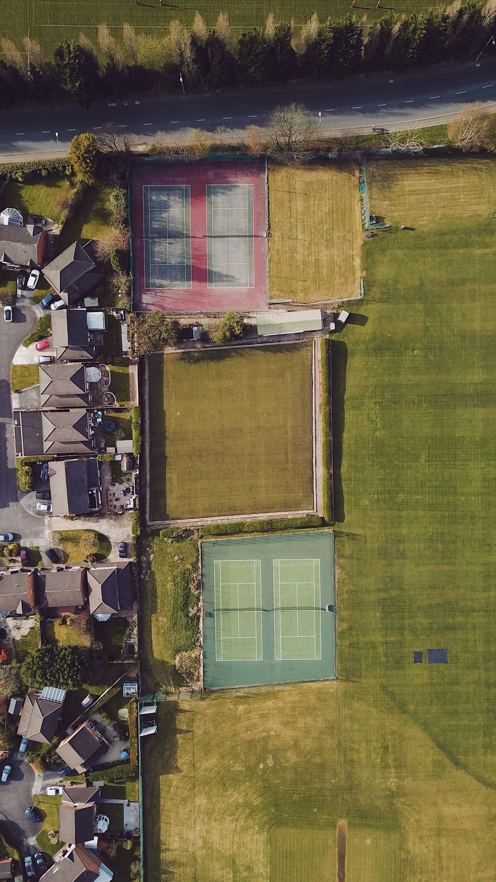 aerial view of green grass field