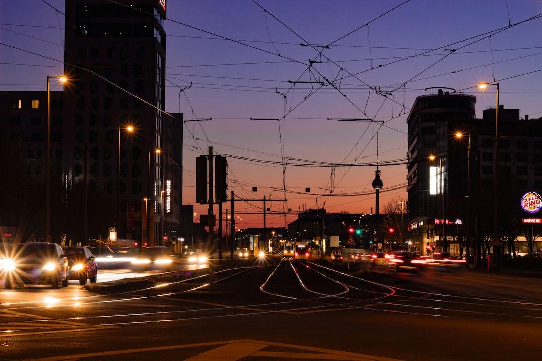 Sunset on busy crossroad in east Berlin.