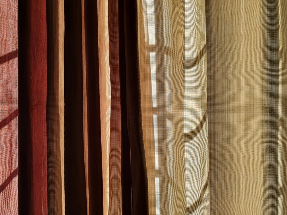 brown and white striped curtain