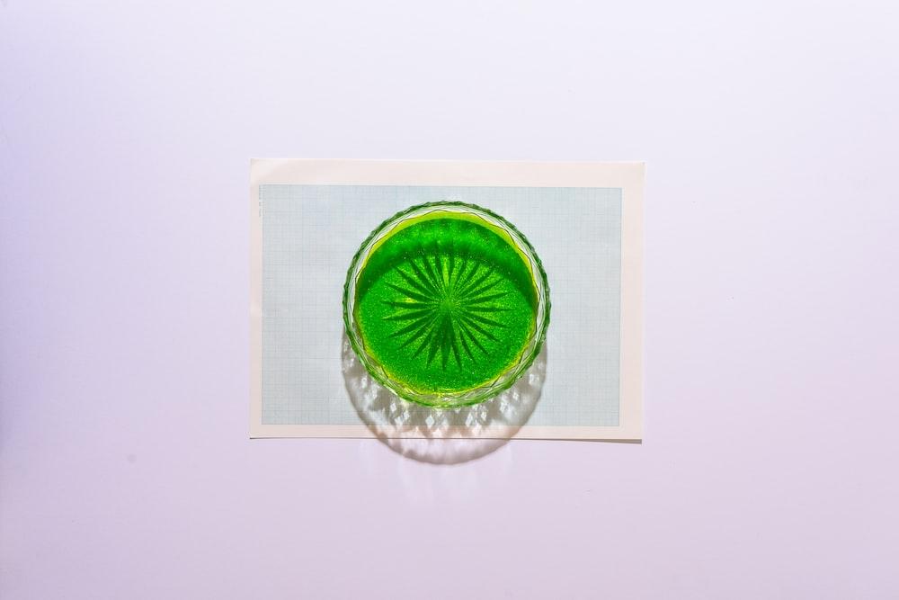green and white round decor