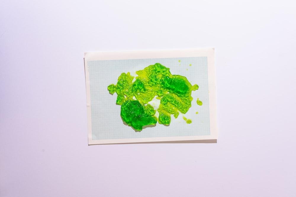 green leaf on white paper