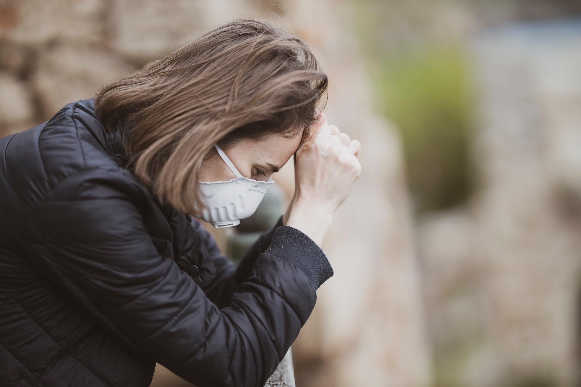 Woman wearing face mask during coronavirus outbreak