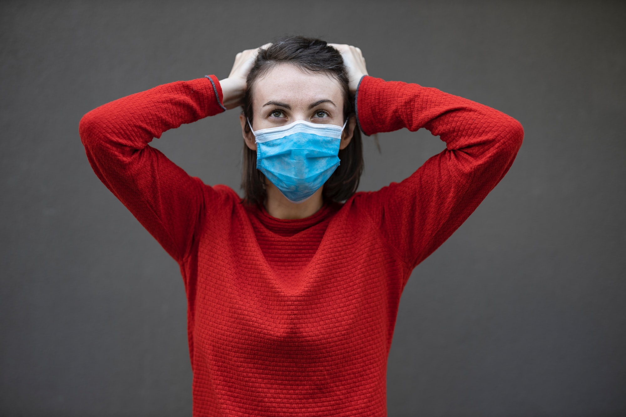 Woman wearing face mask during coronavirus outbreak