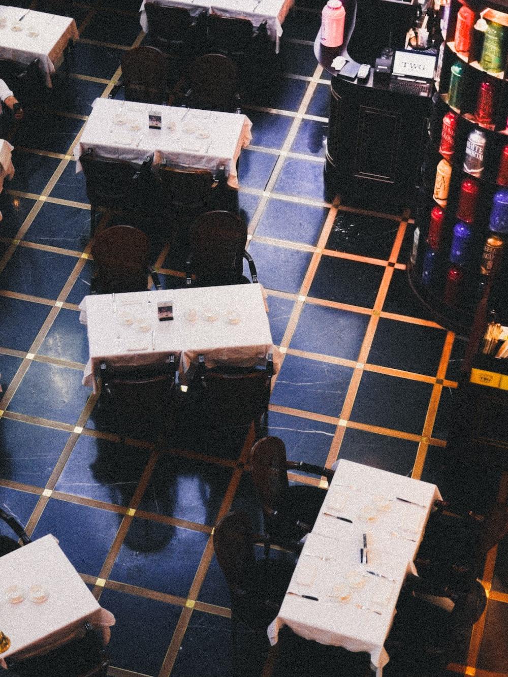 black and white box on blue floor tiles