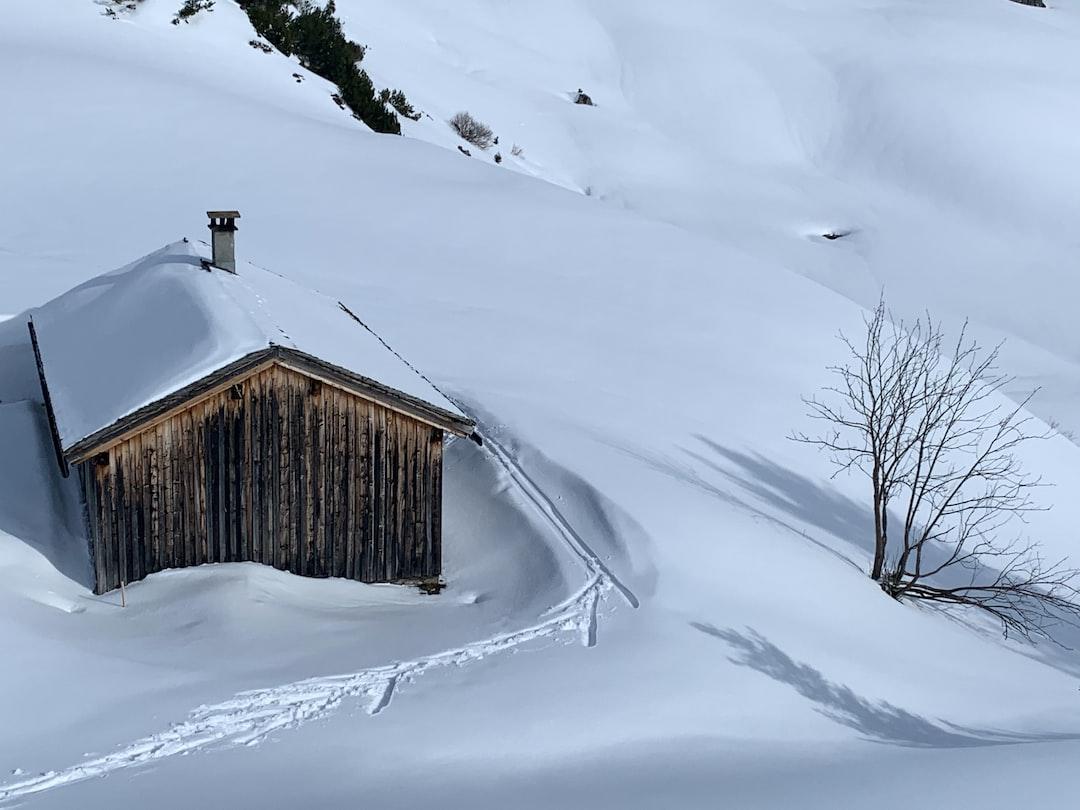 cabin in white snow