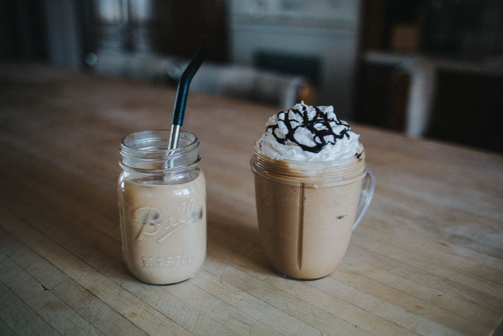 milk shake in clear glass jar