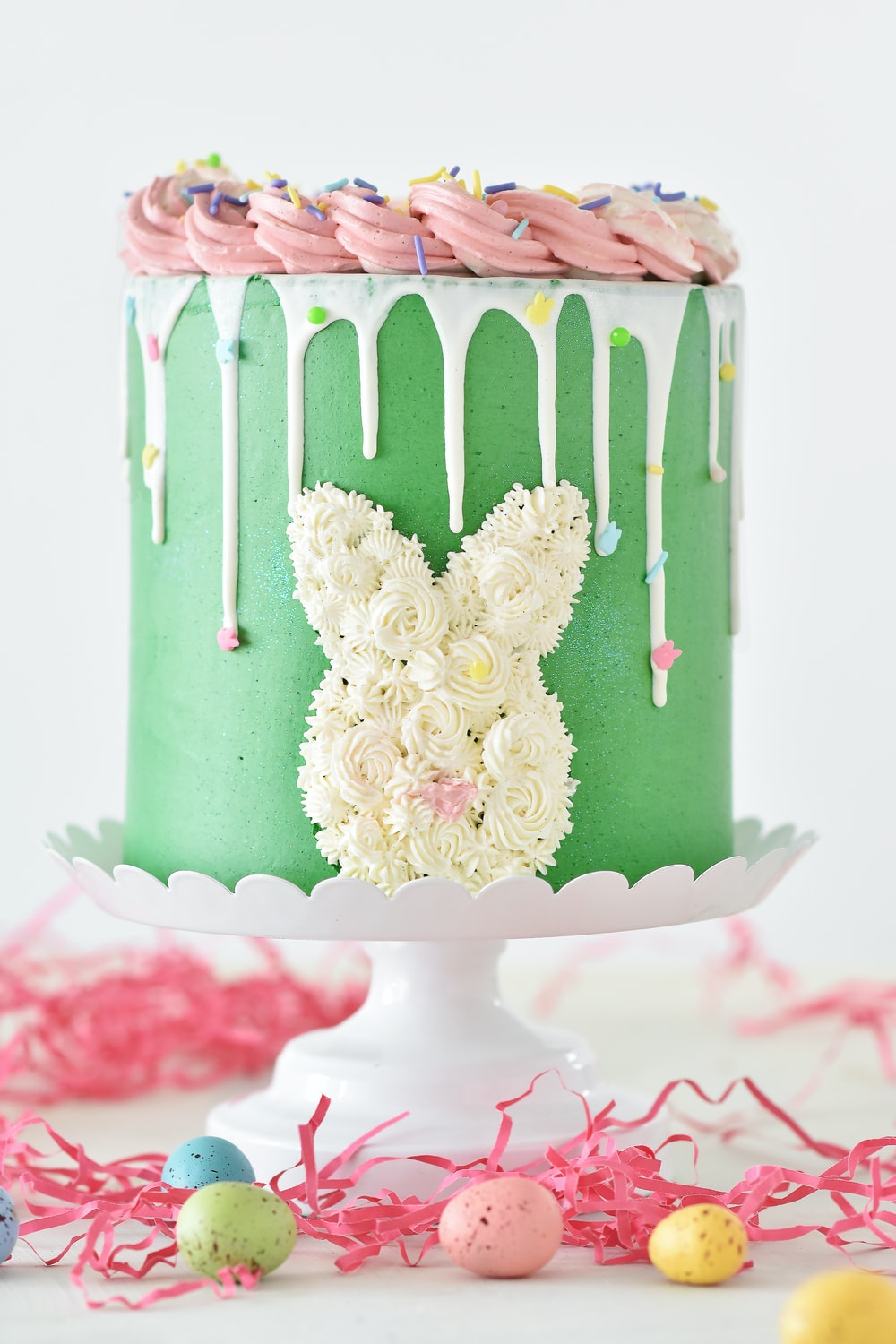 white and green floral cake