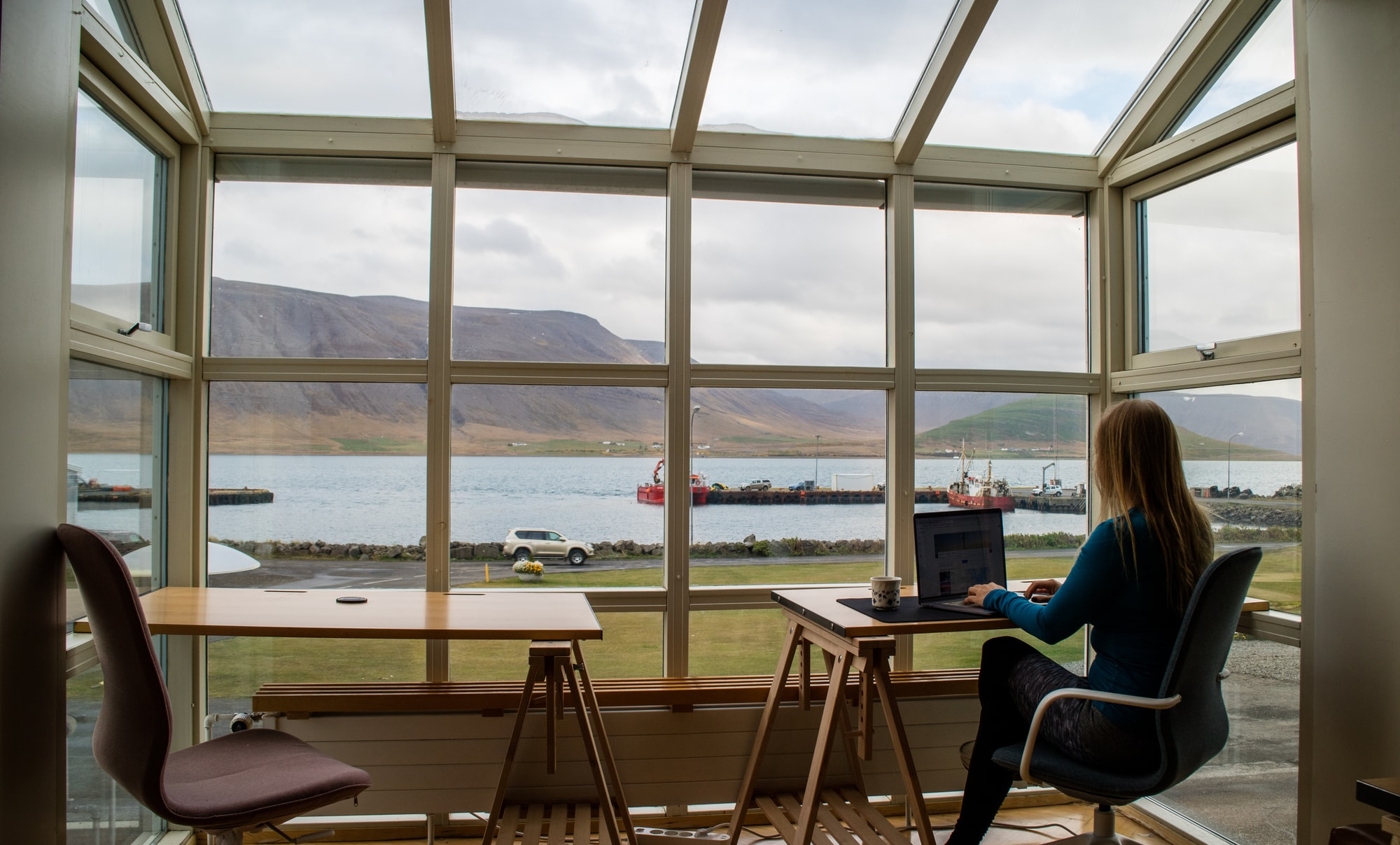 Remote Working in Iceland Self-Portrait (See a video tour of this co-working space at YouTube.com/TravelingwithKristin)