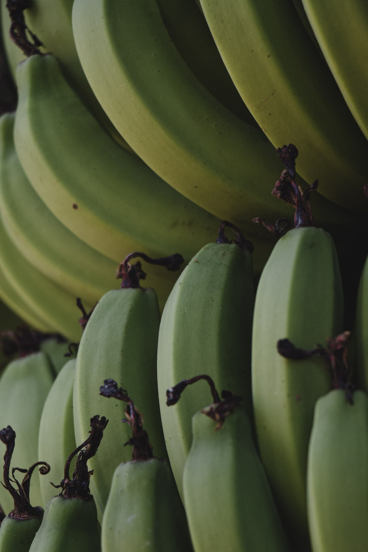 green banana fruit on table