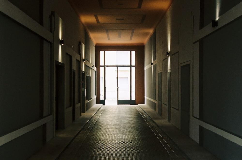 empty hallway with glass windows