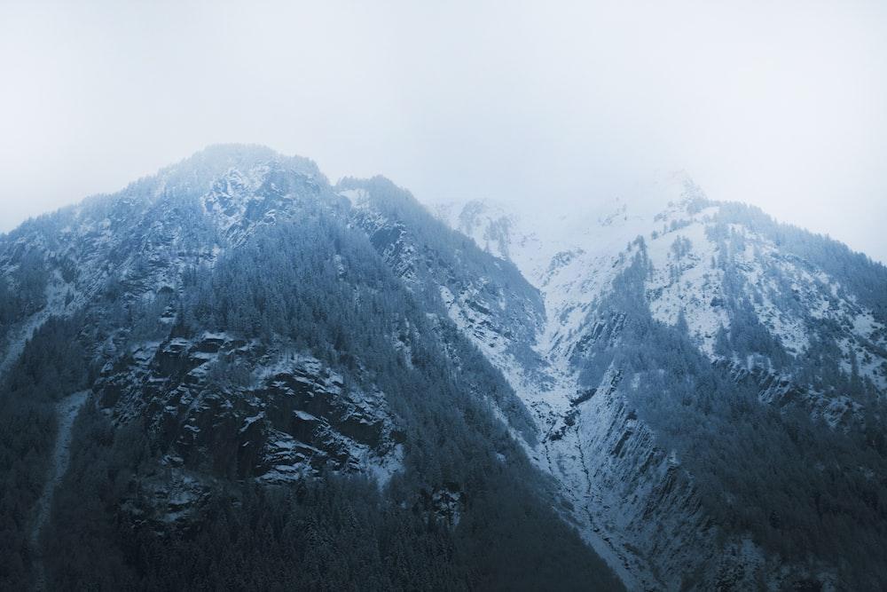 gray and white mountains under white sky