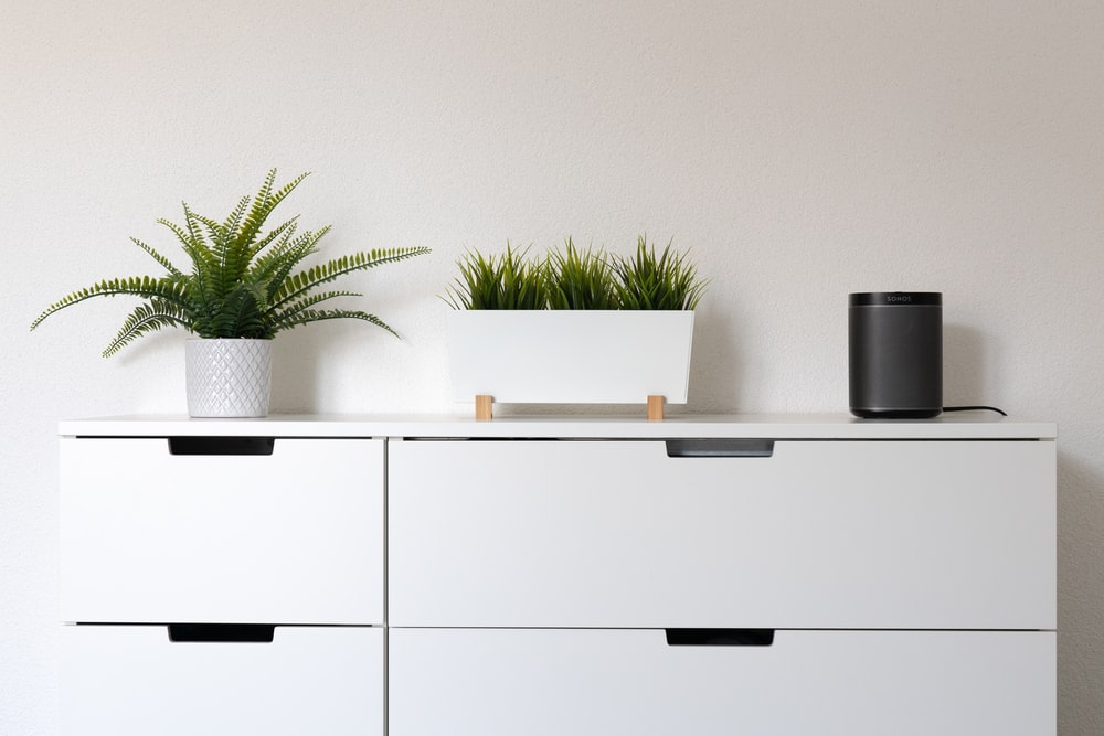 white wooden cabinet with green plant on top