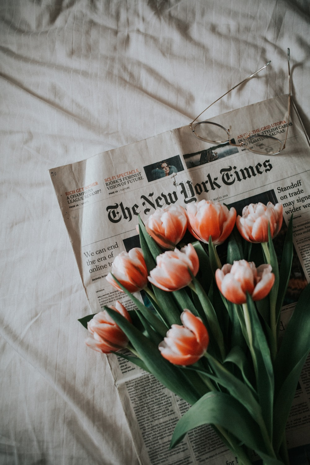 pink tulips on newspaper on white textile