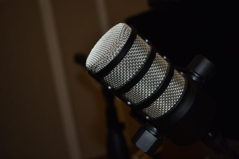 black microphone on black stand