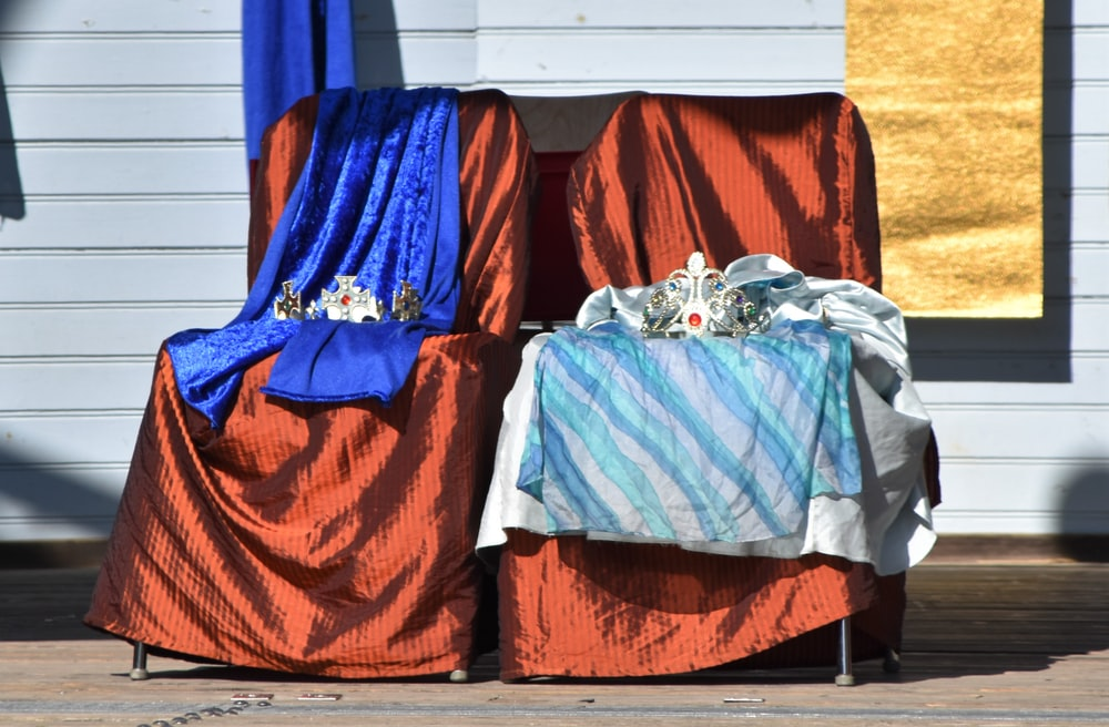 blue and orange textiles on brown wooden table