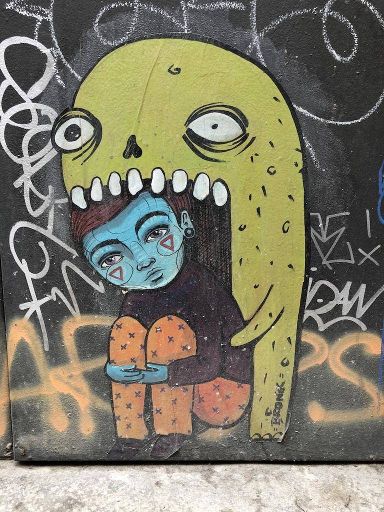 yellow and black alien illustration