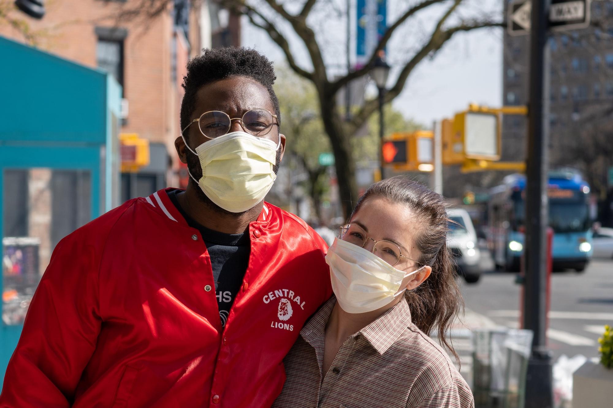 A couple enjoying the sunshine during New York City's #Coronavirus Quarantine, found walking up Flatbush Avenue in Brooklyn. #NYC #Covid